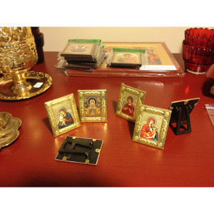 small metal icons with stand, jesus and theotokos